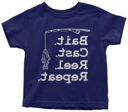 Bait Cast Reel Repeat Toddler T-Shirt Fisherman Fishing Pole