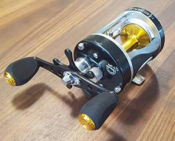 Ming Yang Blue BC600 Baitcast Fishing Reel Gold Spoon 5.3:1