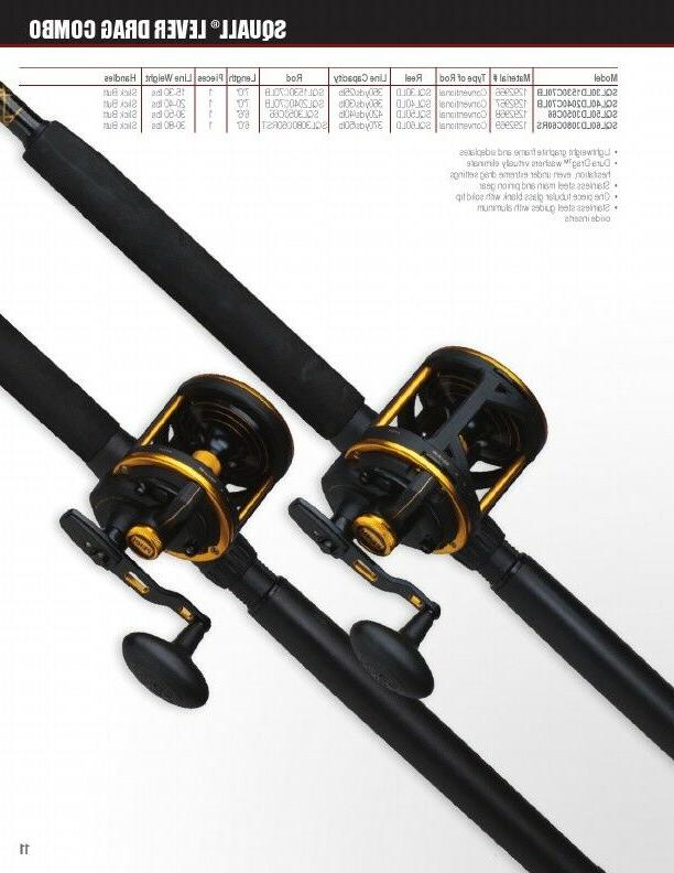 2 squall lever drag conventional fishing reel