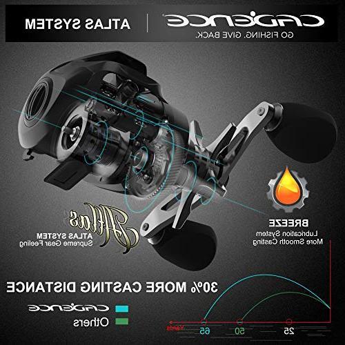 Cadence CB8 Baitcasting Ultra Lightweight Bearings with 20 lb Carbon 5.6:1 6.6:1 Gear Ratio Casting