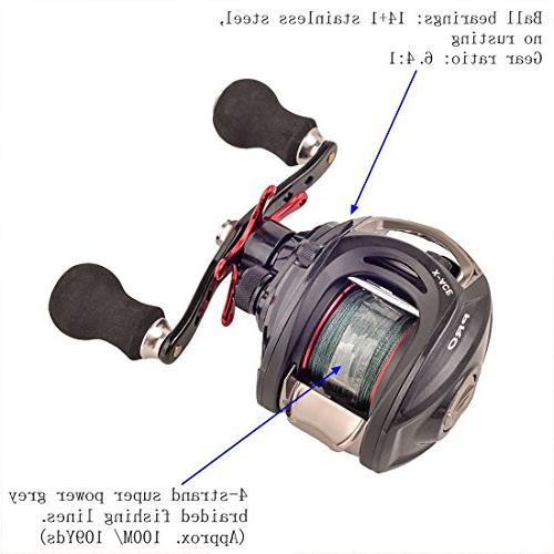 BLISSWILL Reel with Braided Fishing Left/Right 14+1BB 6.4:1 Magnetic Approved