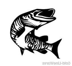 muskie sticker pike fishing lead bait fish baitcaster reel r